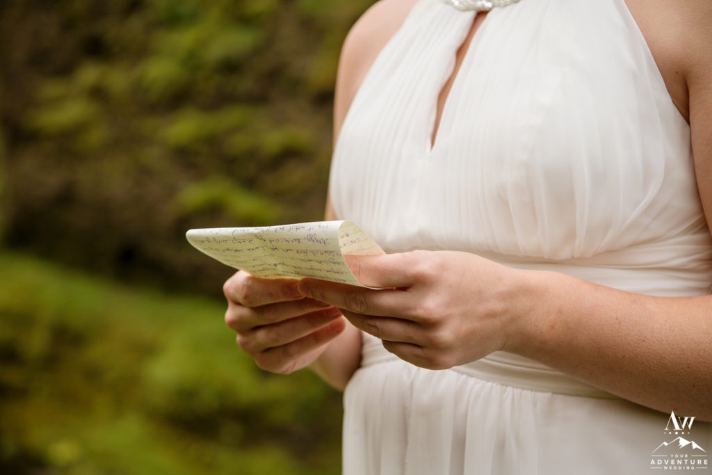 Iceland Bride reading her vows