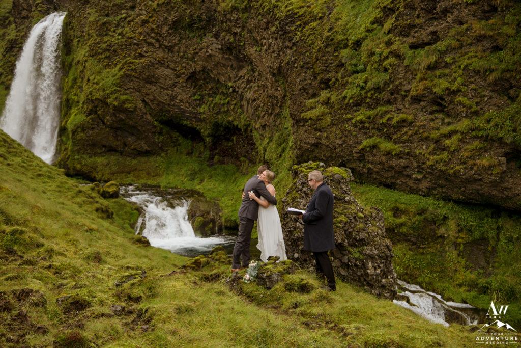 Iceland Wedding Couple Hugging during ceremony