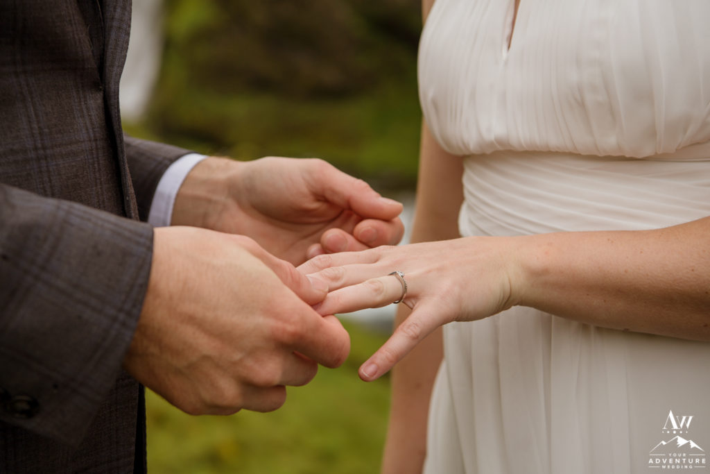Iceland Elopement couple exchanging rings