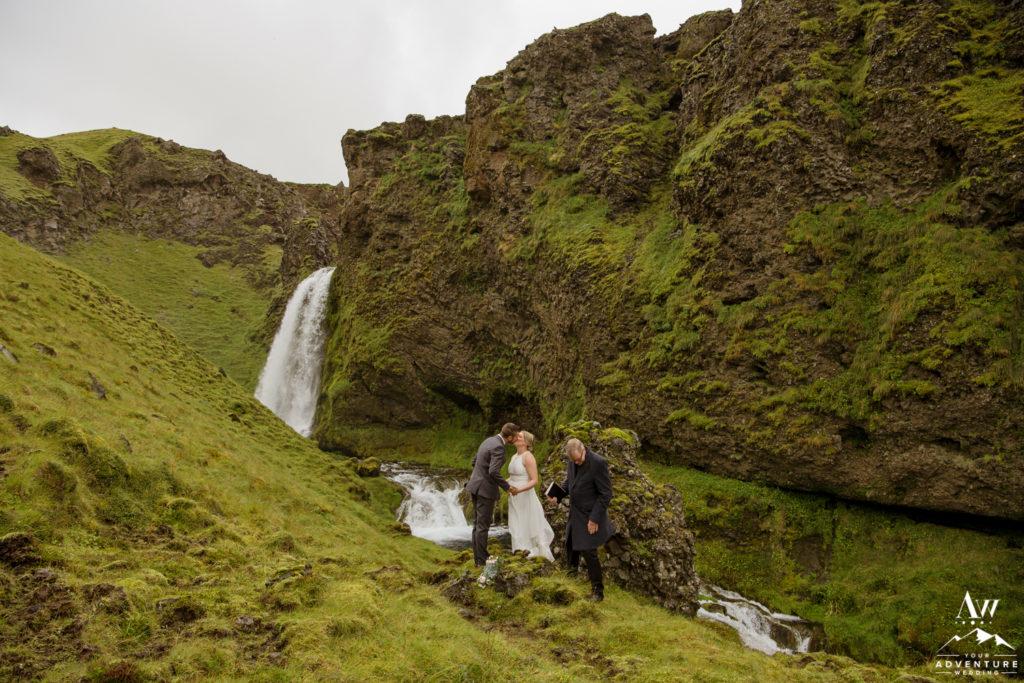Iceland Wedding Couple kissing during ceremony