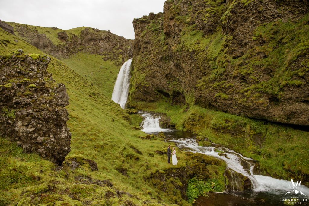 Iceland Wedding Couple at a Private Waterfall