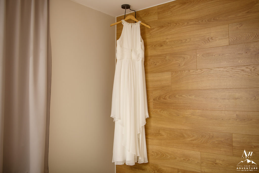 Iceland Wedding Dress hanging in Hotel Stracta