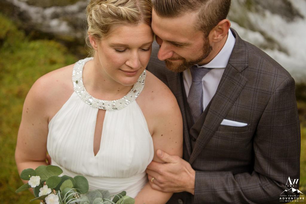 Iceland wedding couple cuddling