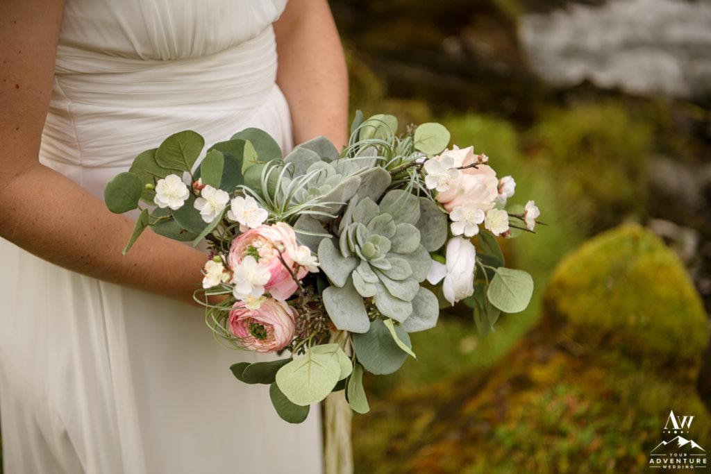 Iceland wedding fake flower bouquet