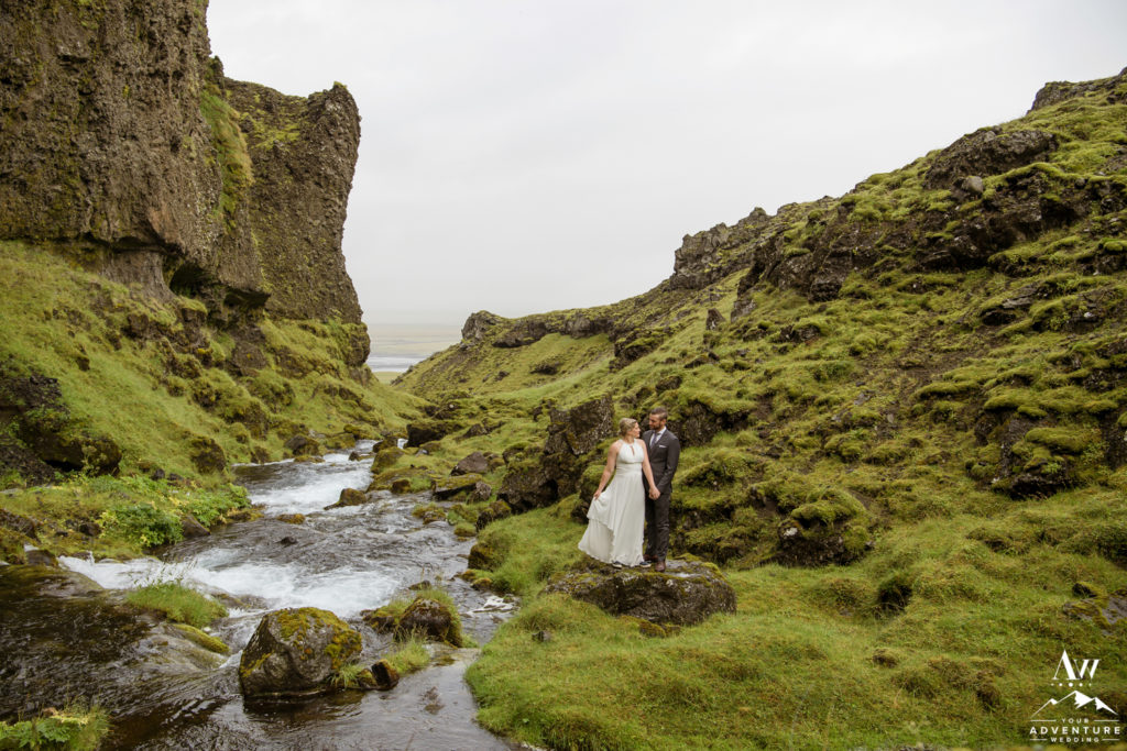 Iceland wedding couple in a private canyon