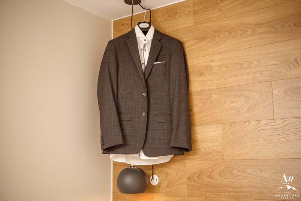 Iceland Elopement Groom Suit at Hotel Stracta