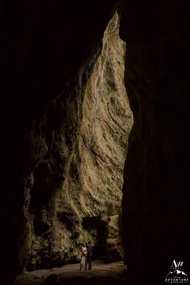 Iceland cave elopement intimate wedding photos