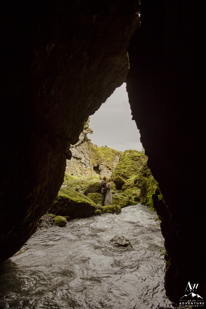 Iceland River Cave during Hiking Elopement
