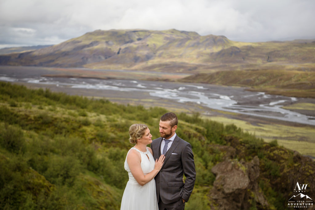 Iceland Wedding Couple looking at each other overlooking Thorsmork