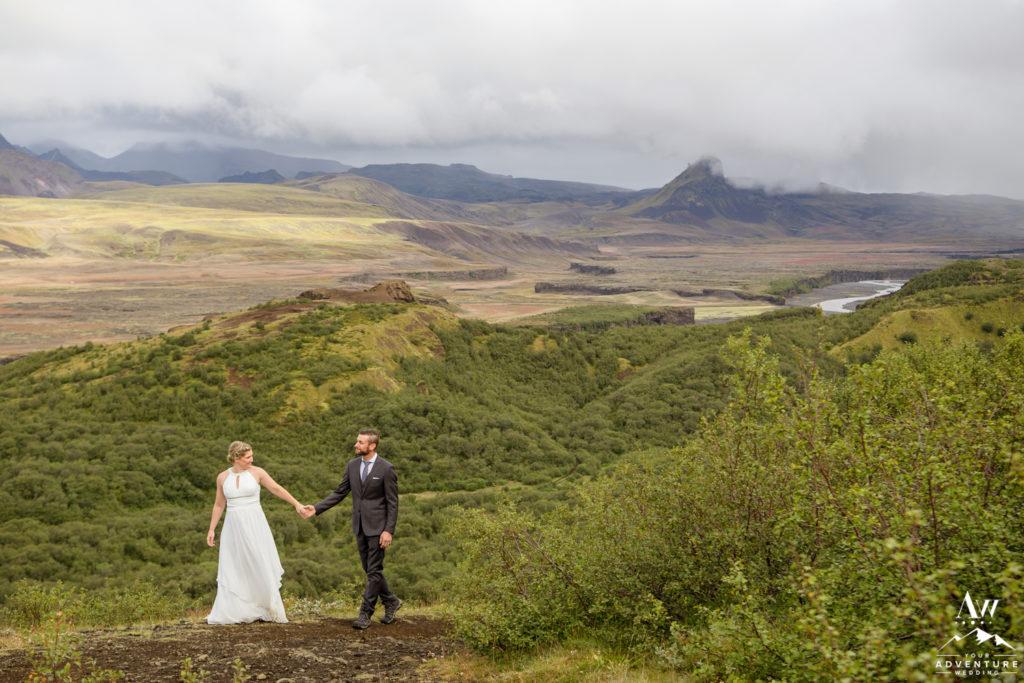 Iceland Wedding Couple with Unicorn Mountain Behind