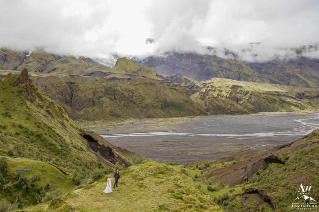 Iceland Mountain Wedding Couple Hiking