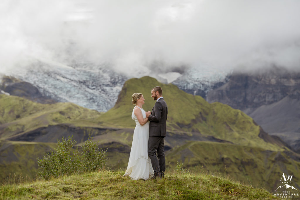 Iceland wedding couple in front of a glacier