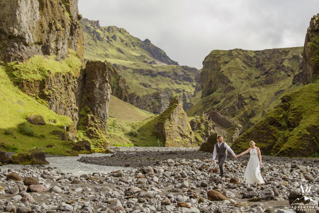 Couple exploring an amazing canyon