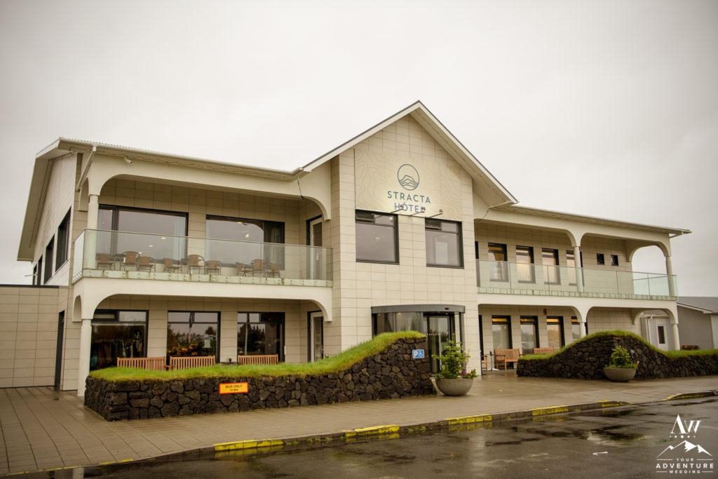 Outside of Hotel Stracta Iceland Wedding Hotel
