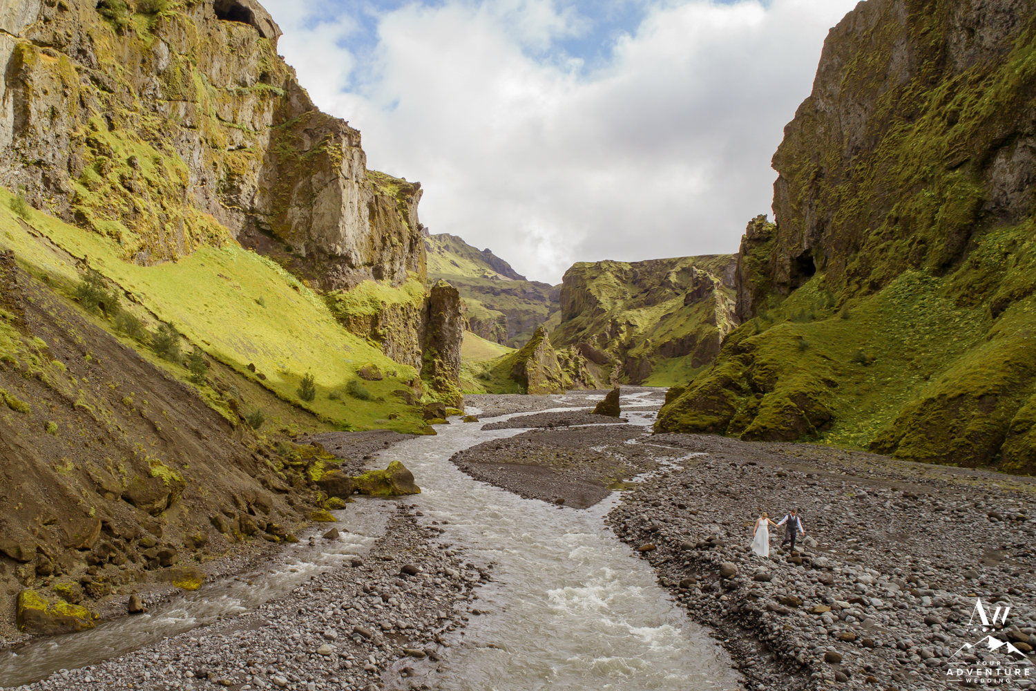 Hiking Elopement in a Canyon in Iceland