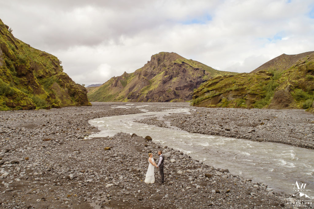 Drone wedding photos in a Canyon in Iceland