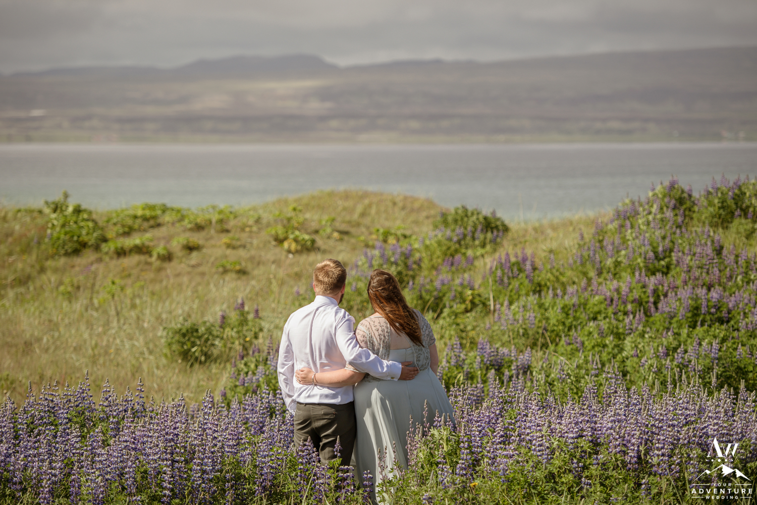 Iceland Wedding Couple Looking to the ocean