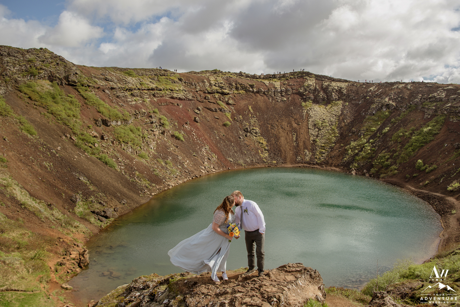 Couple kissing at Kerid Volcano Crater