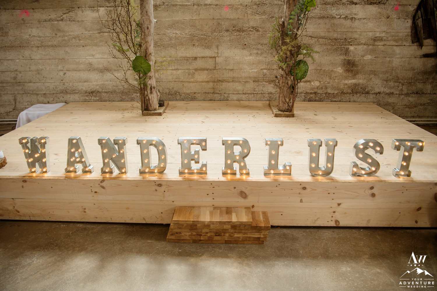 Wanderlust Marquee Sign for Iceland Wedding Reception