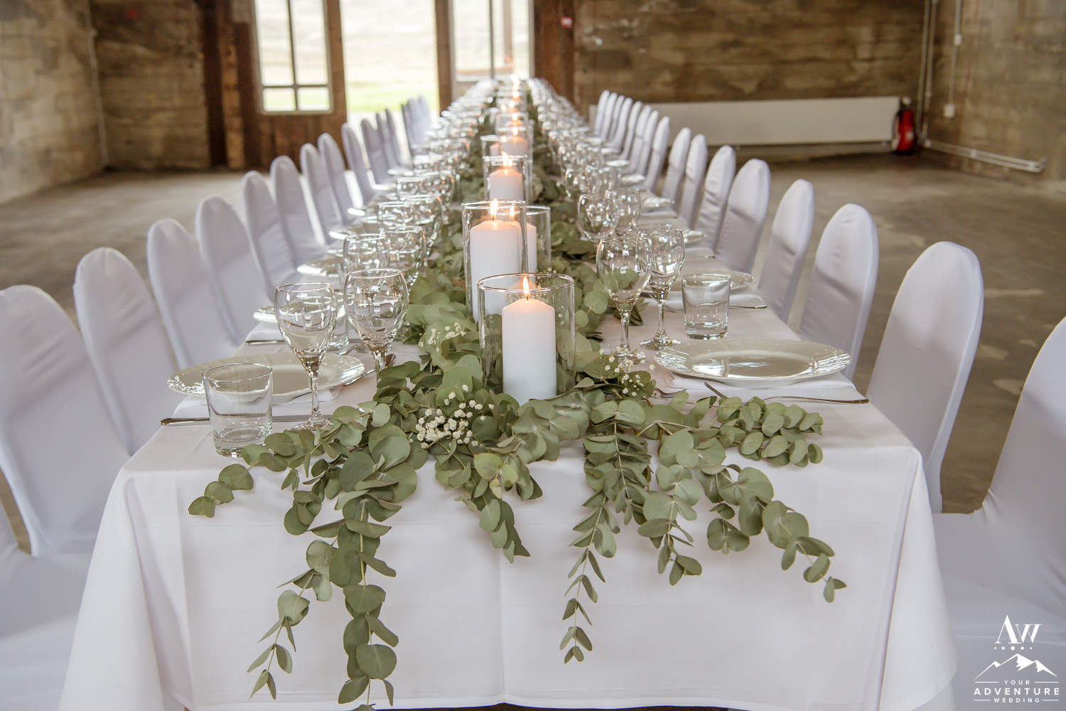 Iceland Wedding Reception Eucalyptus table runner