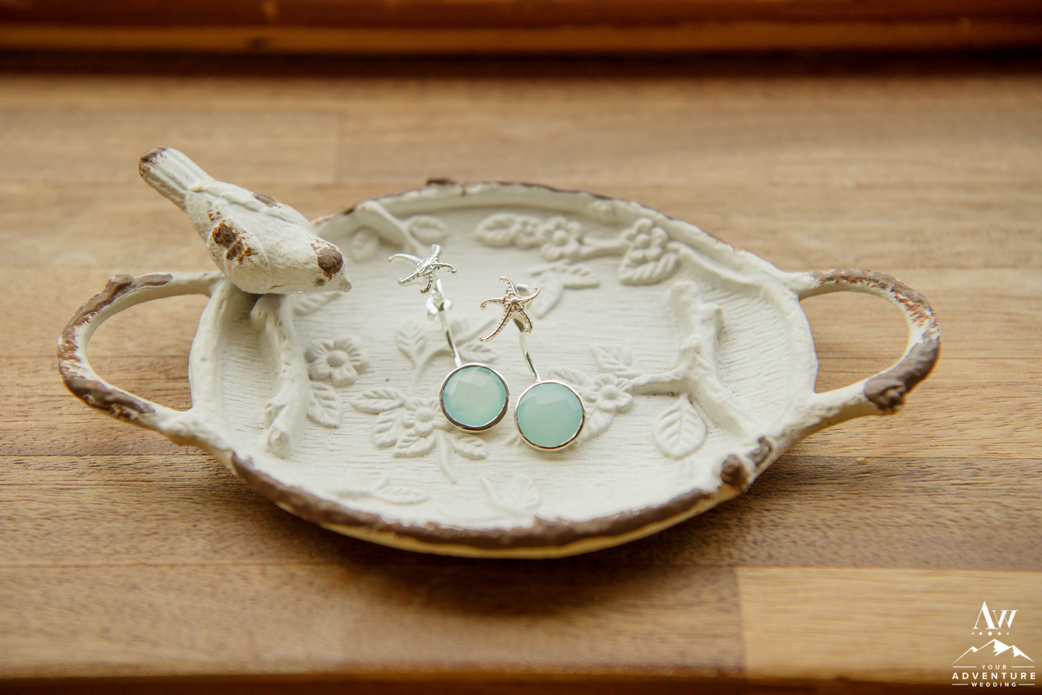 Iceland Wedding Earrings on a bird dish