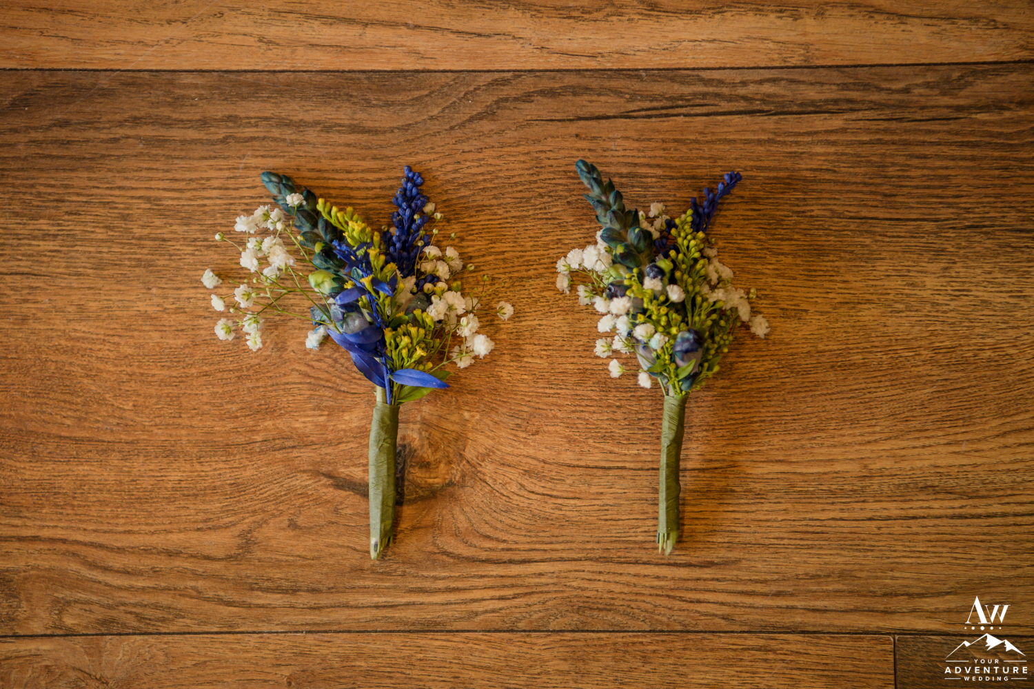 Iceland Wedding Groom Buttonhole Blue and Yellow