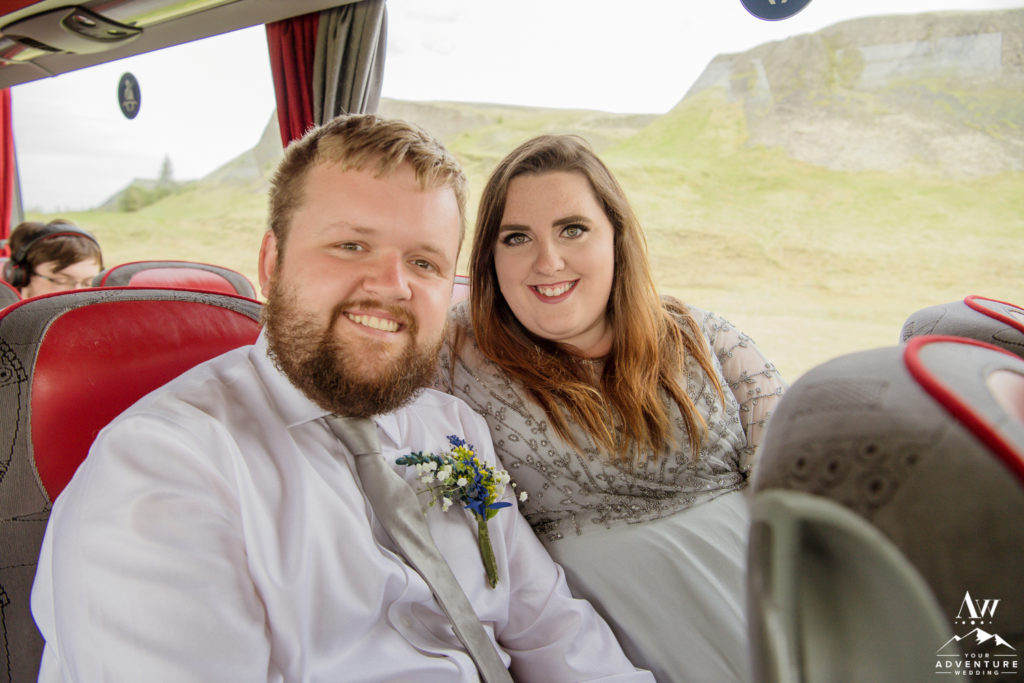 Iceland Wedding Couple on Bus for Wedding