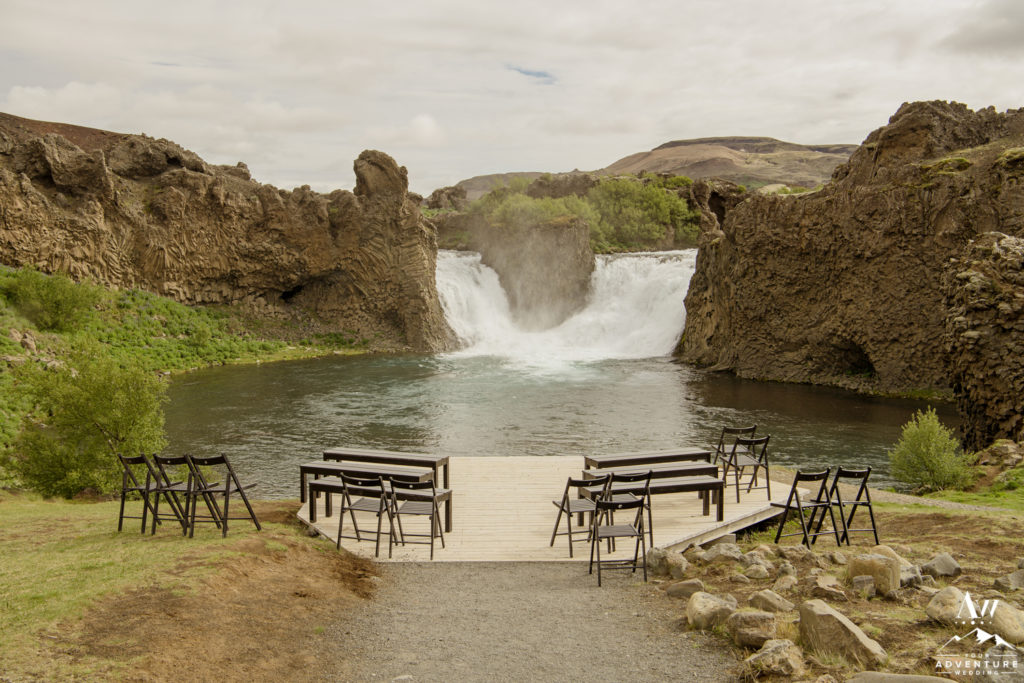 Hjalparfoss Waterfall Wedding Ceremony Setup