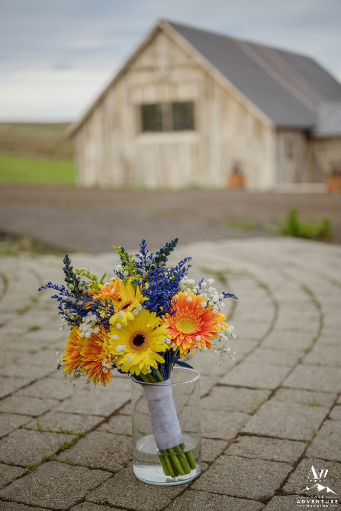 Iceland Wedding Bouquet Yellow and Blue