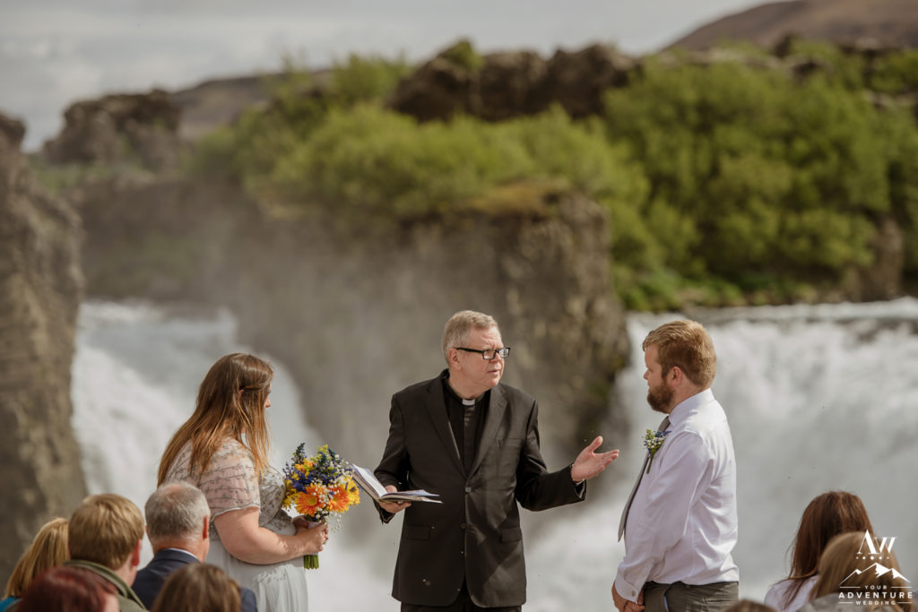 Iceland Wedding Ceremony at Hjalparfoss Waterfall