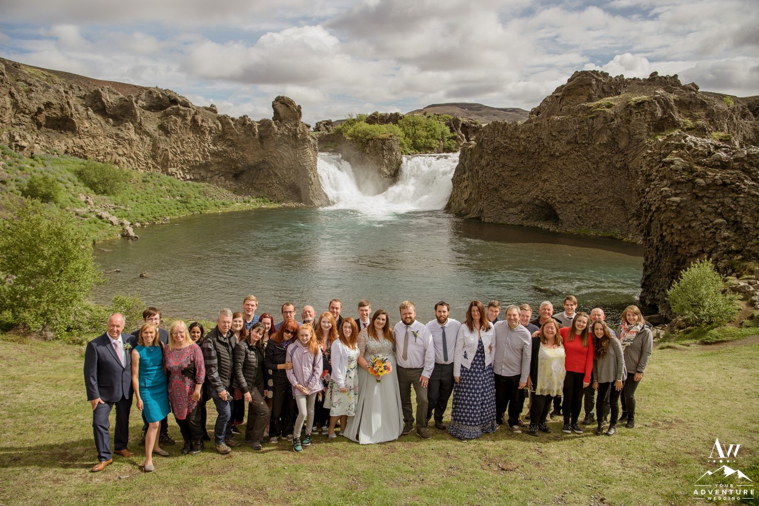 Iceland Wedding Group Photo at Hjalparfoss Waterfall