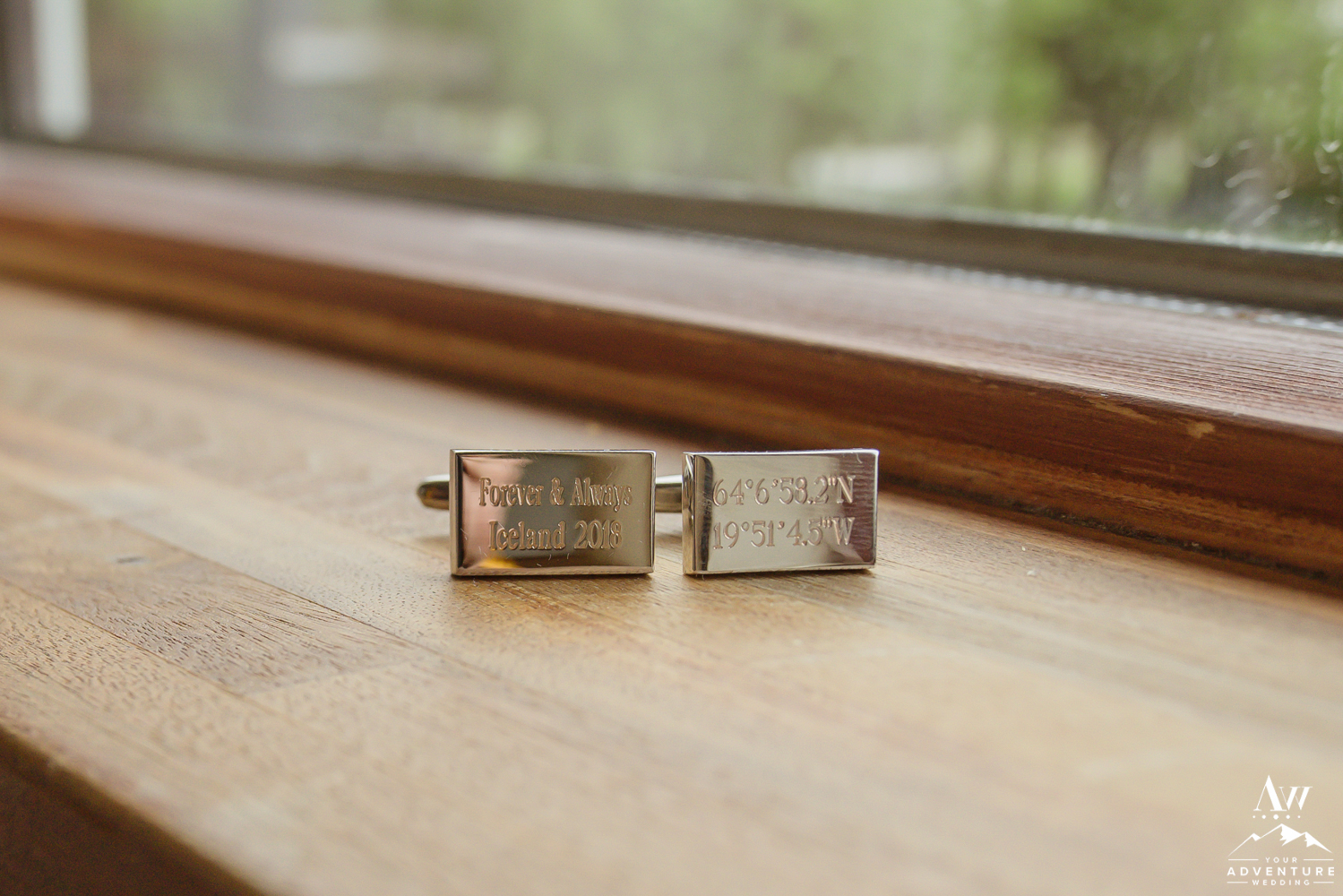 Iceland Wedding Cuff Links with GPS Cords