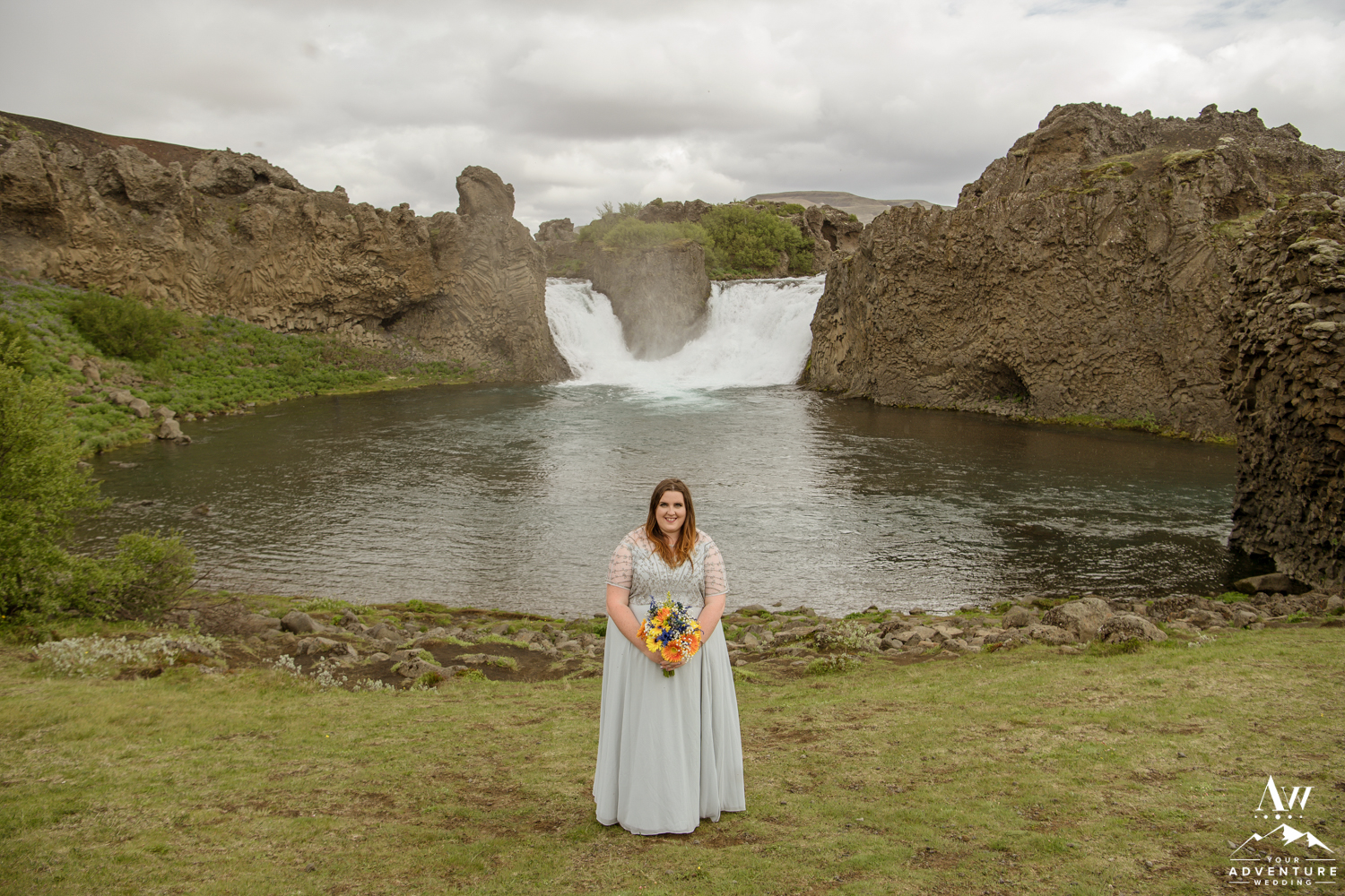 Iceland Wedding Bride at Hjalparfoss Waterfall