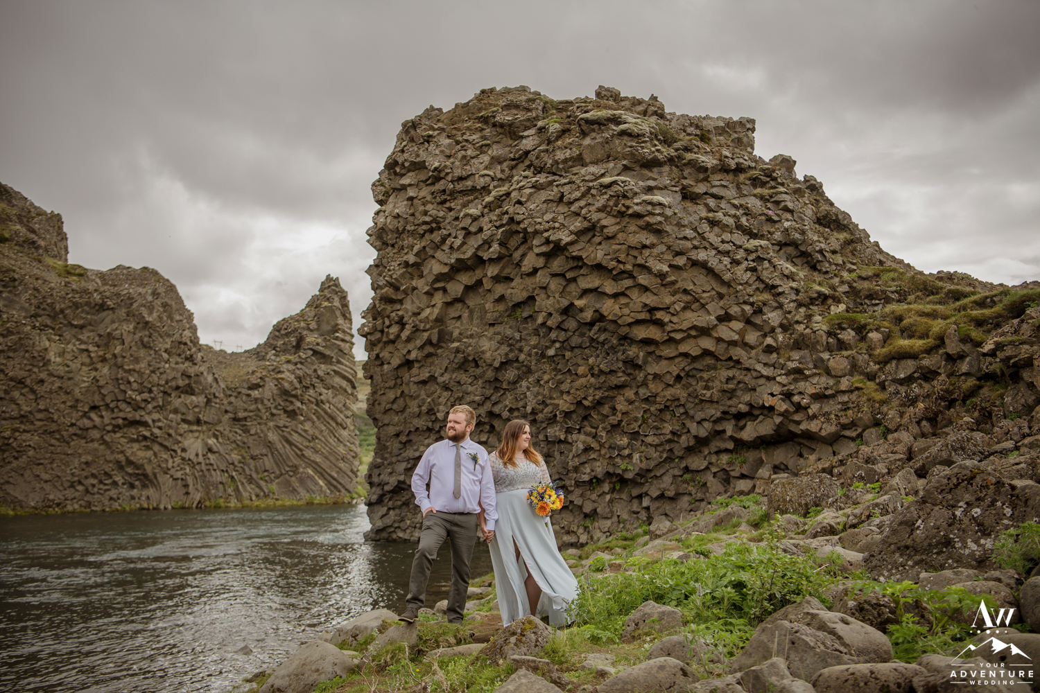 Iceland Wedding Couple Exploring Hjalparfoss