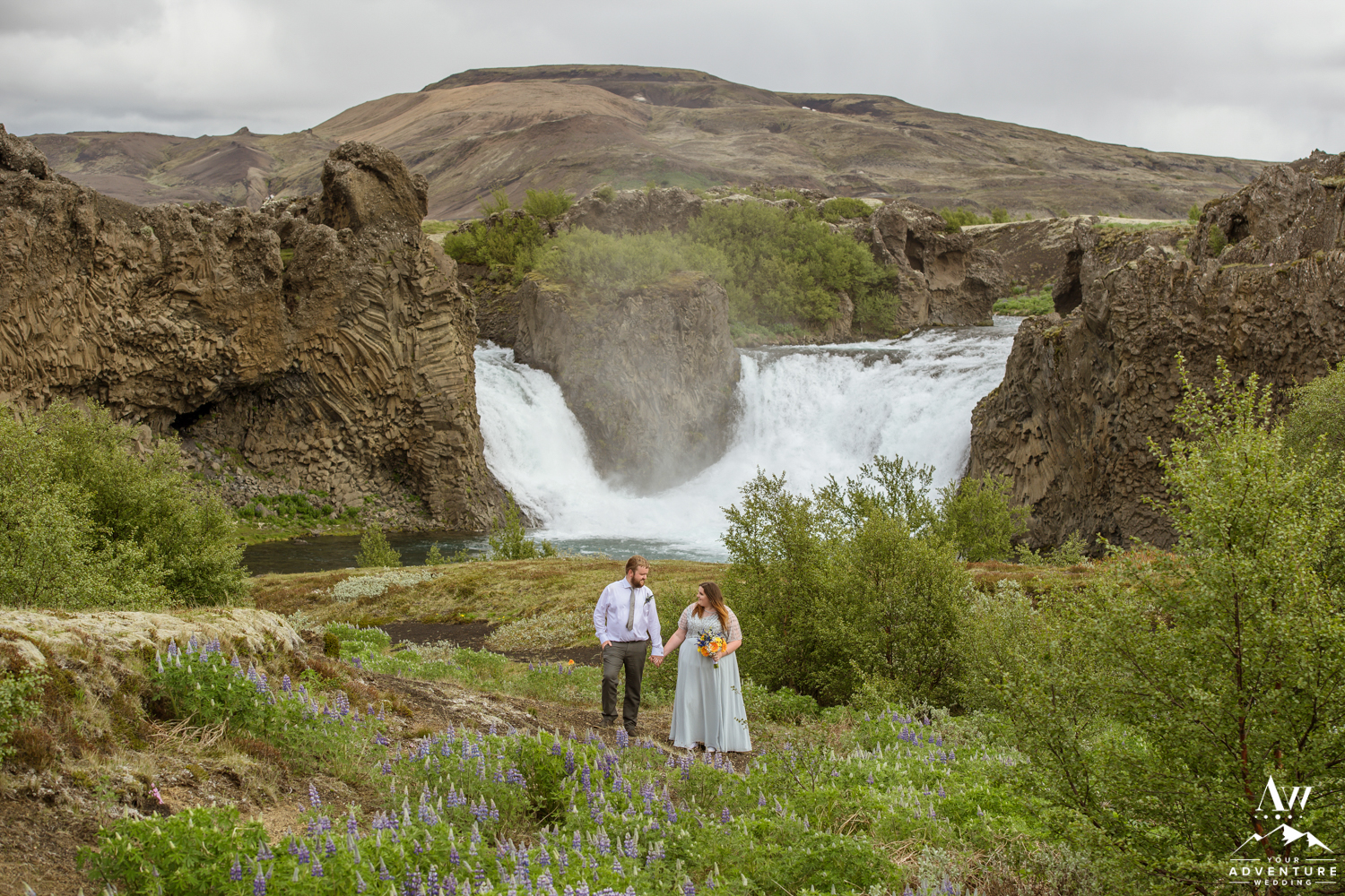 Iceland Adventure Wedding at Hjalparfoss Waterfall