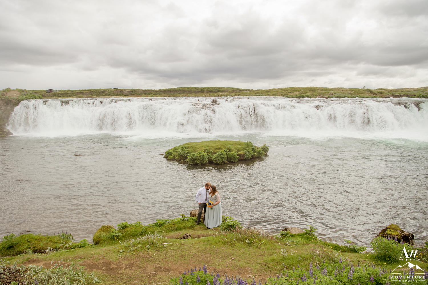 Iceland Wedding Couple at Faxafoss Waterfall