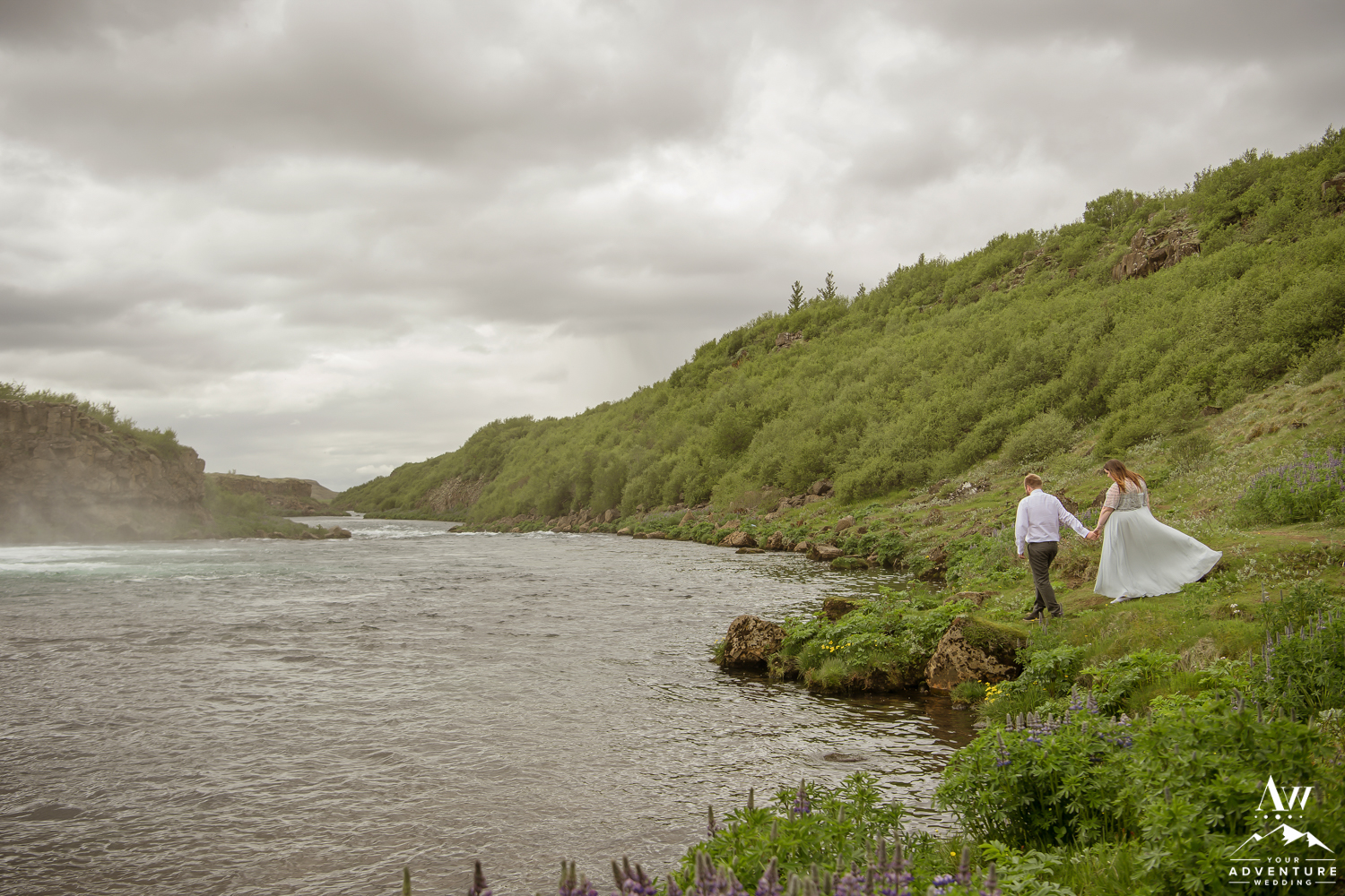Iceland Wedding Couple Exploring Faxafoss Waterfall