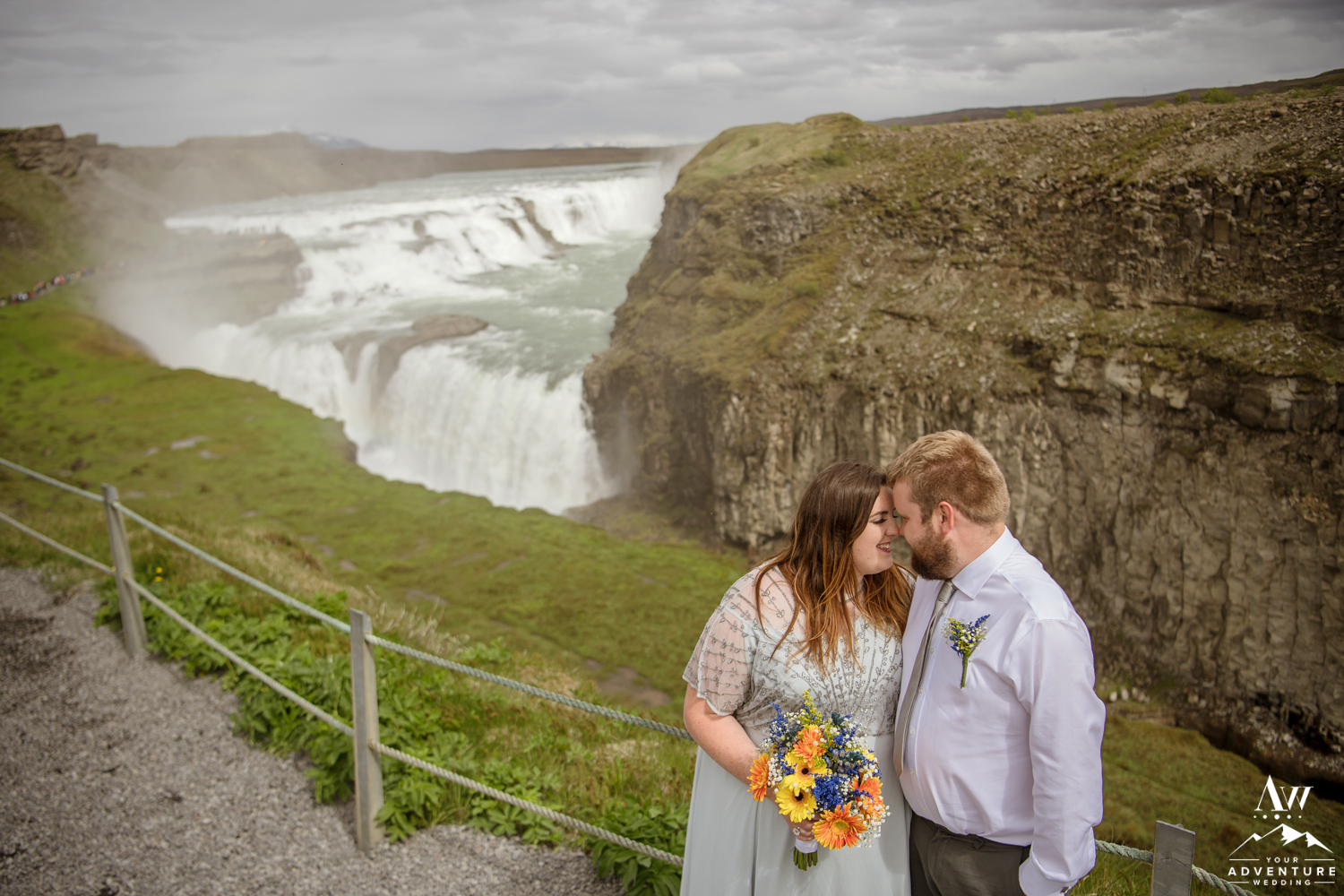 Iceland Wedding Couple at Gullfoss Waterfall