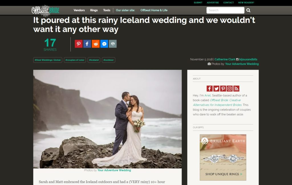 Rainy Iceland Wedding Featured on Offbeat Bride