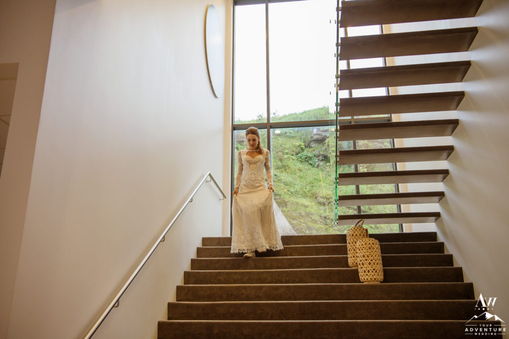 Bride Walking down the stairs at Icelandair Vik