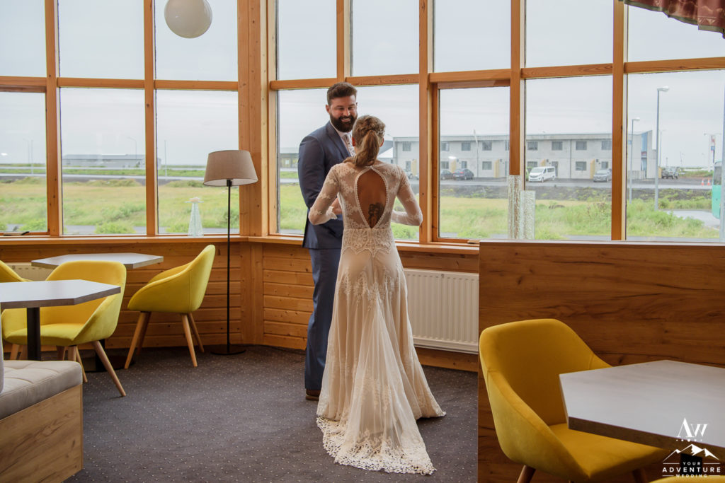 Iceland Elopement Couple sharing in their first loo together