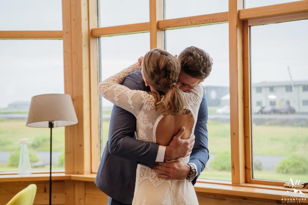 Couple hugging inside Icelandair Vik