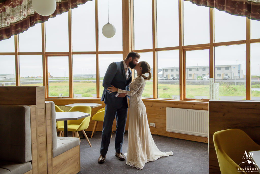 Couple kissing after first look at Icelandair Vik