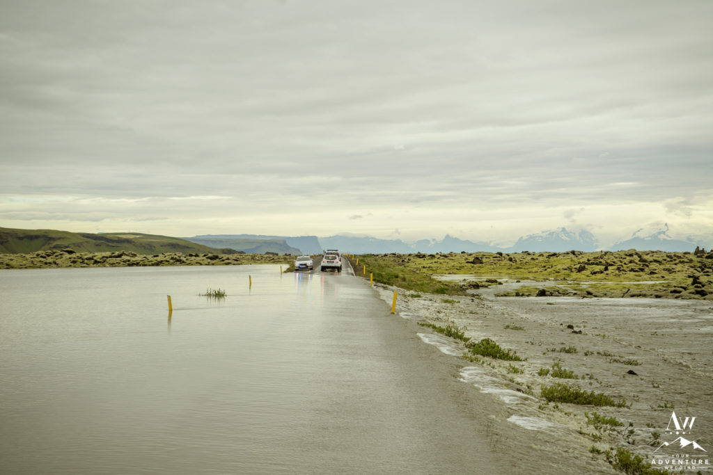 Route 1 in Iceland Flooded in South