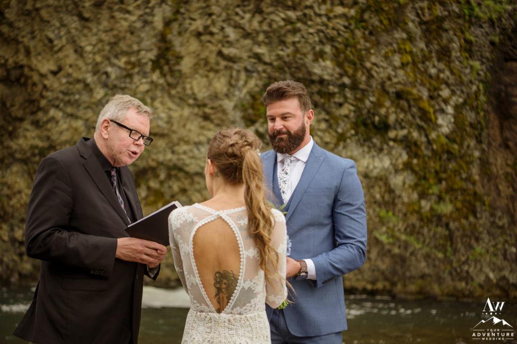 Groom During Iceland Waterfall Wedding