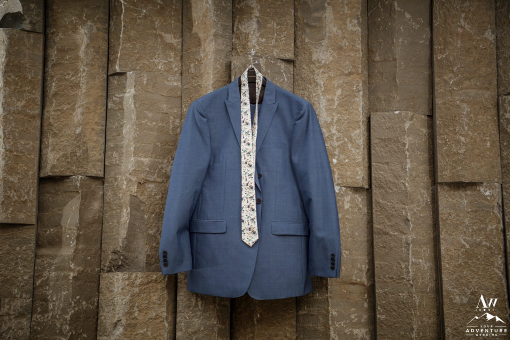 Blue Groom Suit for Iceland Wedding Day