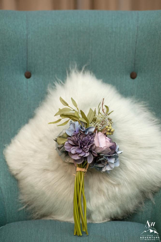 Iceland Wedding Purple Flower Bouquet