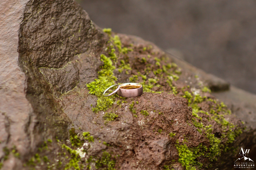 Iceland Wedding Rings on a moss lava rock