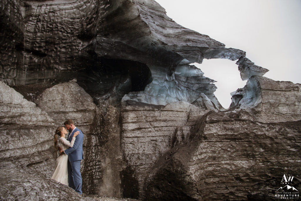 Elopement in Vik Iceland Couple at an Ice Cave Black Glacier