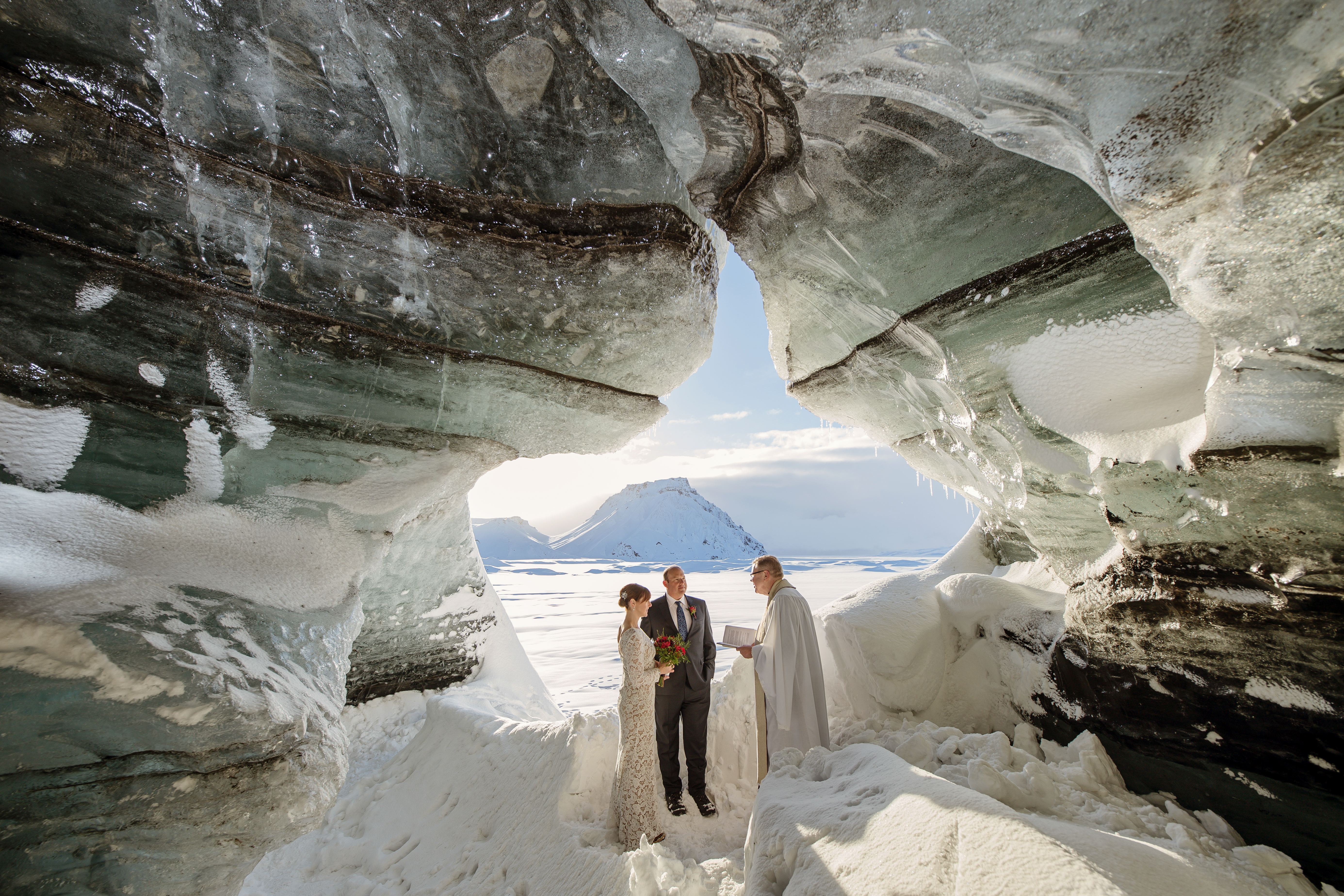 Couple inside of an Ice Cave in Iceland